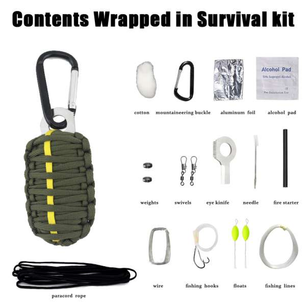 Paracord Survival Kit Green with Yellow Stripe