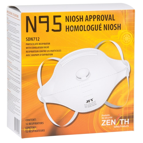 , N95 Mask Particulate Flat Fold Respirator With Valve Box of 12, Rapid Survival, Rapid Survival