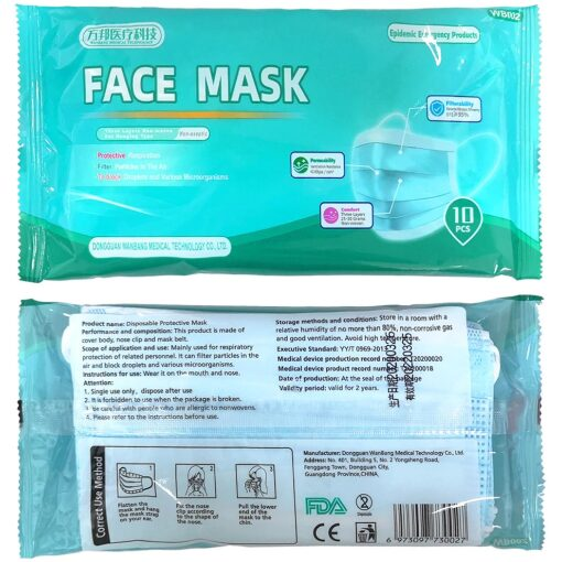 , Protective Face Masks – 10 per package, Rapid Survival